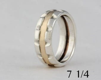 Size 7 1/4, silver and 14k gold 12 notch ring, #79.