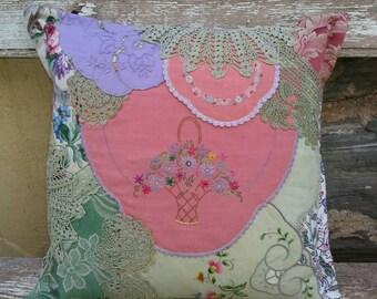 Pretty Patchwork Doiley Cushion