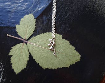 Tiny silver fairy necklace on 18 inch silver chain. Child's necklace. Adult necklace.