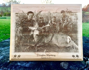 Personalized Laser Engraved Hunting Photo onto Plaque *Hunting Photo Gift*