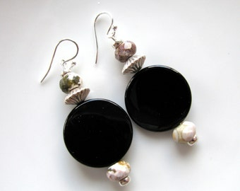 Drop earrings, Black Onyx coins, Fire Agate, Sterling beads and findings, 1 and 3 qtr inch long B-895