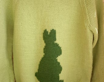 This is a lime green sweater with a bunny embroidered on the front and fits a 26 inch chest or a 4-5 year old.
