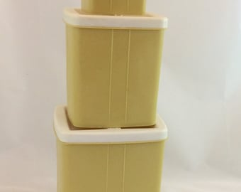 Vintage Canister Set in Gold and White/ 3 Piece Gold Canister Set, Vintage Camper Kitchen