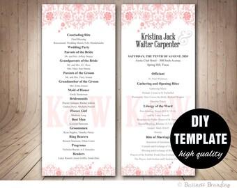 Pink Wedding Program Template,Instant Download,Floral Wedding Program,Elegant Wedding Program,Pink Wedding Program,Blush Pink Wedding
