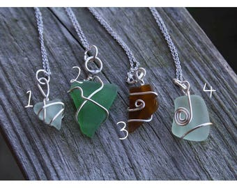 Silver Wire Wrapped Sea Glass Necklace