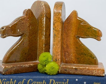 Brown Marble Horse Head Bookends