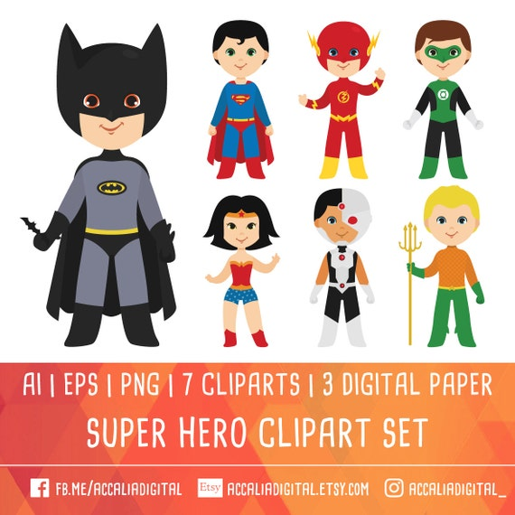 super hero clipart justice league clipart team superhero rh etsy com Justice League Unlimited Characters Justice League Checks