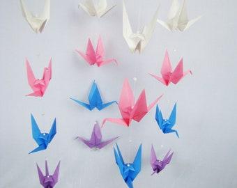 READY TO SHIP - Origami Crane Hanging Mobile - Spring Colors  - Home Decor - Kids Room Decor