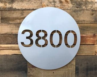 On The Dot Address Plaque, Custom Address Sign, House Numbers, Round (Free Shipping)