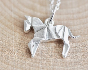 Origami Horse Necklace in Sterling Silver 925, Silver Horse Necklace, Horse Jewelry, Horse Pendant, Origami Jewelry, Jamber Jewels 925