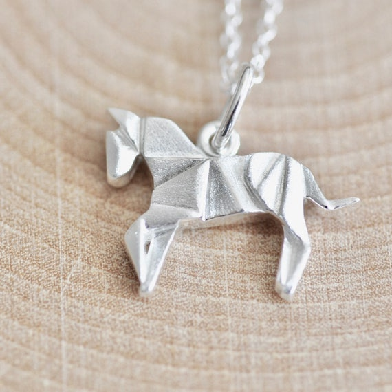 Origami horse necklace in sterling silver 925 silver horse aloadofball Gallery