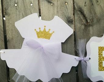 Lavender Princess Baby Shower Banner, Lavender Princess Baby Shower, Princess Birthday Banner, Lavender and Gold Banner