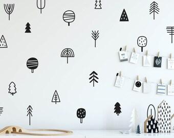 Tree Wall Decals - Woodland Nursery Decals, Pine Tree Decals, Forest Wall Decals, Kids Wall Stickers, Cute Woodland Stickers