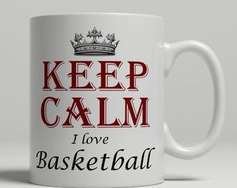 Love Basketball coffee mug, KEEP CALM basketball gift idea, basketball player, basketball player mug, basketball fan mug,  Keep Basketball