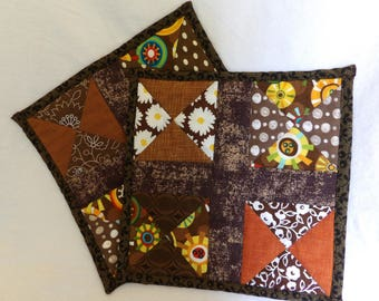 Brown Potholders, Brown Hot Pads, Brown Oven Pads, Brown Fabric Trivet