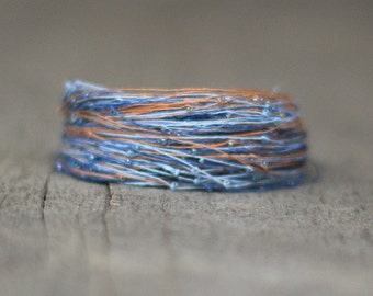 Azure Blue Brown Bracelet, Magnetic Bracelet, Seed Bead Jewelry, Braclet for Her