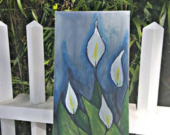 Calla Lily - floral theme painting, vertical, office, home, living room decor