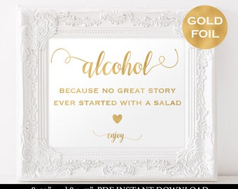 Wedding Alcohol Sign Printable - Gold Wedding Sign - Wedding Drink Sign - Bar Sign - Signature Drink - Downloadable wedding  #WDH812238