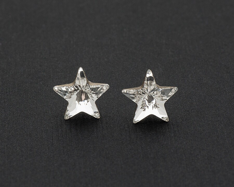 Ornami Sterling Silver Crystal Star Drop Earrings 4SoEcxu
