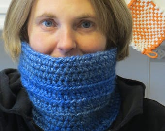 Shades of Blue Crochet Neck Warmer/Cowl - Winter Scarf - Cozy Blue Cowl Scarf - Friend Gift - Woman's Scarf - Kids Scarf
