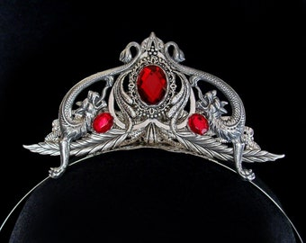 Dragons Tiara - Daenerys Targaryen - Headdress - Medieval Fantasy - Diadem - Game of Thrones - Wedding - Mythical - Silver - Red Siam