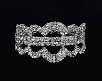 Avery Clear Crystal Competition Bracelet for IFBB, NPC, and NANBF Bikini Fitness Bodybuilding Contests