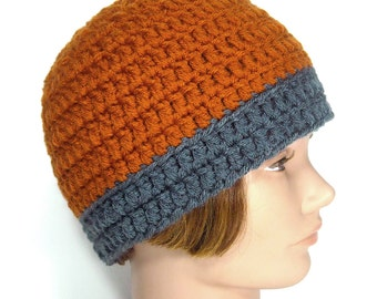 Handmade Hat, Beanie, Toboggan, Men's or Women's - Oxford Pumpkin