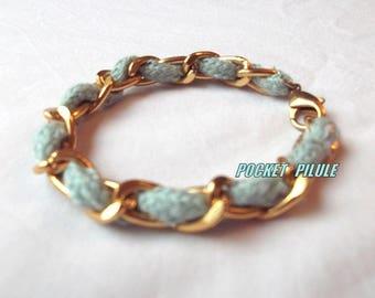 """Bracelet """"Turquoise"""" light blue, gold, model unique"""