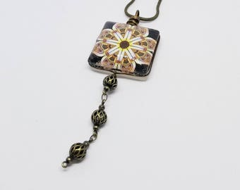 Cathedral window under glass // glass tile // necklace // handmade