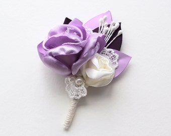 Lilac Ivory Floral Boutonniere/ 8 available/ Wedding Lapel Pin/ Handmade Wedding Accessory