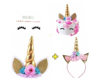 Unicorn Cake Unicorn Cake Topper Birthday Cake Unicorn Headband Happy Birthday Party Unicorn Cake Unicorn Headand