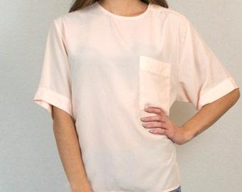 Vintage Short Sleeve Oversized Pink Lightweight T-Shirt Top Shirt