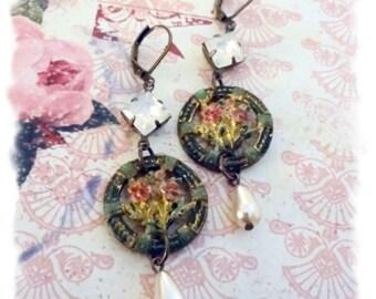 Antique Button Earrings, Assemblage Earrings, Vintage Rhinestone Earrings, Pearl Earrings, Shabby Chic Earrings, Bertha Louise Designs