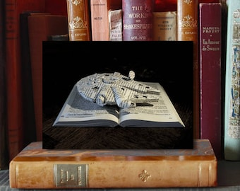 "Paper Sculpture Fineart Postcard ""Faucon Millenium"" - Starwars series"
