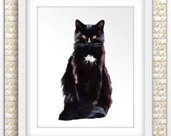 Black Cat Art Cat Watercolor Print Crazy Cat Lady My Cats Are Print Watercolor Kid Wall Cat Painting Art Cat Nursery Art Gift Art Pet Lover