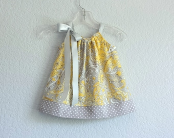 Baby Girls Yellow and Gray Dress with Bloomers - Infants Yellow and Grey Floral Dress - Yellow Sun Dress - Size Nb, 3m, 6m, 9m, 12m or 18m