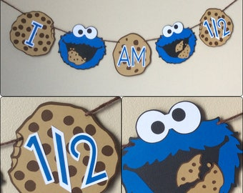 "1/2 Birthday Sesame Street Cookie Monster "" I am 1/2 "" banner /Happy 1/2 Birthday / Cookie Monster 1/2   banner / blue  / Sesame Street / m"