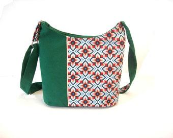 crossbody bag vintage graphic fabric , bucket bag dark green , shoulder bag zippered green canvas,crossbody purse zippered