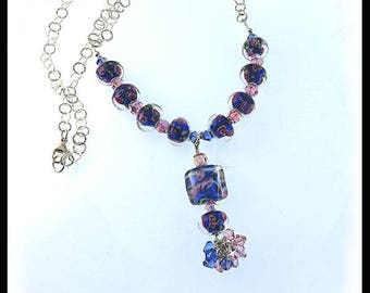Pink roses in blue lampwork glass beads necklace with light rose and sapphire Swarovski crystals and sterling silver chain