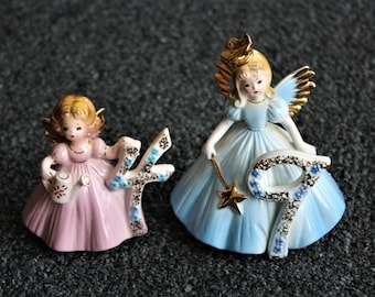 2 Vintage Josef Originals 4th and 9th Year Birthday Angel Porcelain Figurines