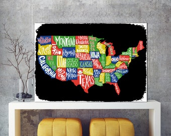 Dark USA map, USA Map, Black American Map, Map Sign, USA map Sign art, Color map, Metal sign, Map metal sign, Unated states map