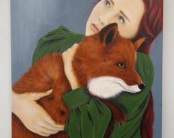 woman portrait, girl with pet Fox