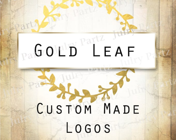 LOGO in Gold Leaf•Premade Logo•Jewelry Card Logo•Watercolor Logo•Custom Logo•Shop Logo