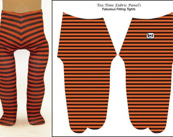18 inch Doll Tights - Orange and Black Stripe Doll Tights - Easy to Sew -  Best Fit Ever-  4 Way Stretch Fabric