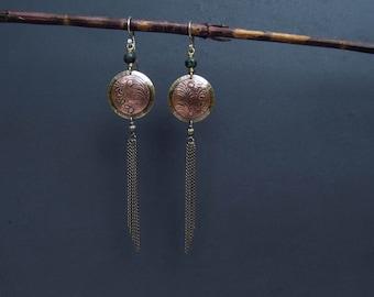 Mixed Metal Earrings Hand Made Chain Earrings Long Earrings Tassel Earrings Artisan Metalsmith OOAK