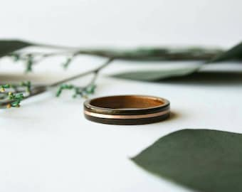 Men's Wooden Wedding Band with 14k Rose Gold Inlay in Macassar Ebony Wood with Koa Wood Lining - 5 Year Anniversary Ring for Him or Her