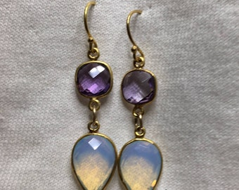 Amethyst and opalite earrings