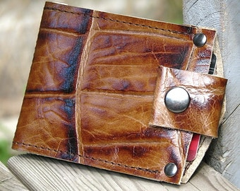 Men's Brown Leather Money Clip Snap Wallet - Billfold, Bifold - Minimalist Giraffe Print