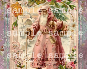 SALE Instant Digital Download - Christmas Collage Sheet - Vintage Victorian Antique Shabby Chic Santa - French Script Pink Christmas