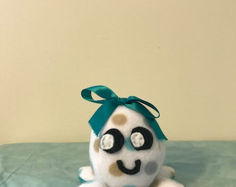 White/Teal Stuffed Mini Octopus Plush with Teal Bow